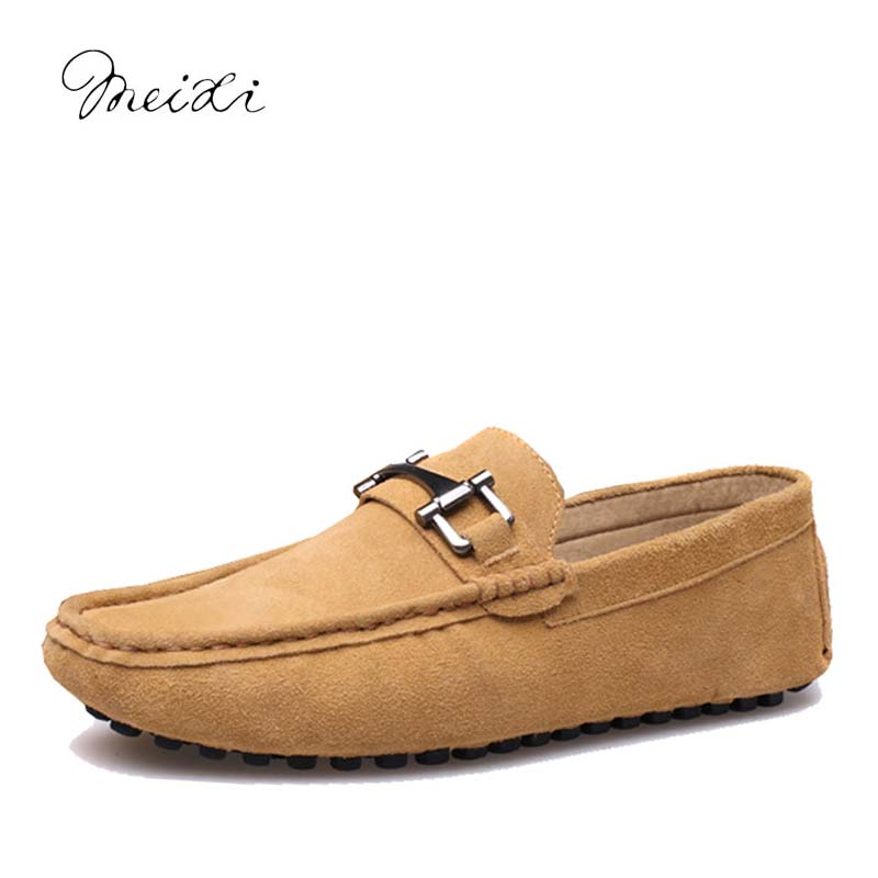 meixi casual slip-on men moccasins 38-44 driving comfortable soft handmade men loafers M17090101 pl us size 38 47 handmade genuine leather mens shoes casual men loafers fashion breathable driving shoes slip on moccasins