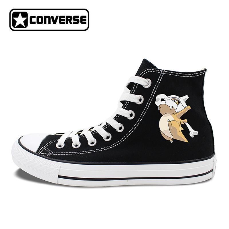 Woman Man Converse All Star Skateboarding Shoes White Black 2 Colors Pokemon Cubone Anime Canvas Sneakers High Tops anime converse all star skateboarding shoes boys girls pokemon snorlax white black canvas sneakers design 2 colors