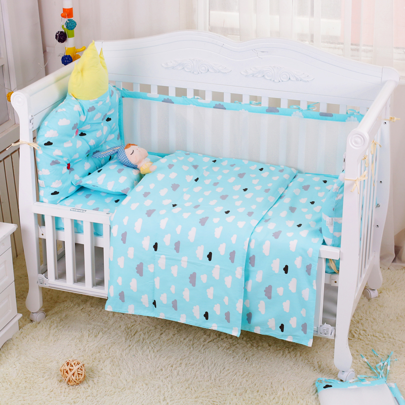 купить 4pcs Include 1pcs Big Crown Shape Crib Headrest Cushion 1pcs Long Side Mesh Bumper 1pcs End Cotton Bed Bumper 1pcs Bed Sheet