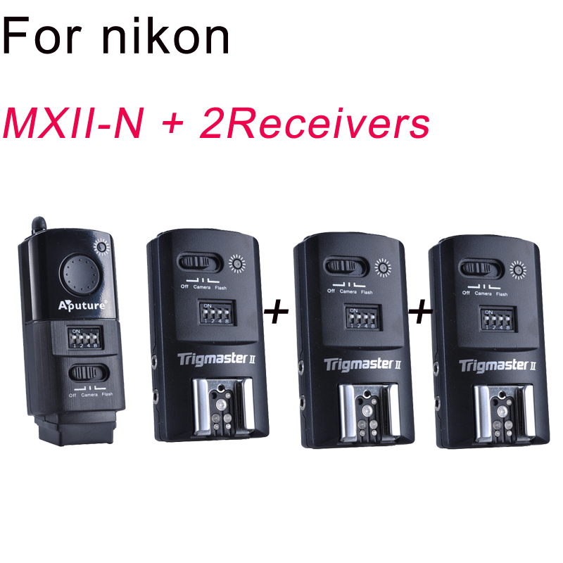 Aputure Flash Trigger Trigmaster II 2.4G MXII-N + 2 receivers for Nikon 16 Channels Free Shipping+Drop Shipping Wholesale aputure 16 channel flash speedlite