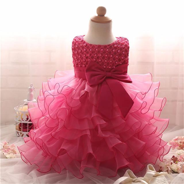 Girl dress para el cumpleaños del bebé volantes vestido de boda vestidos de princesa bowknot infant toddler ropa de fiesta ropa de los niños