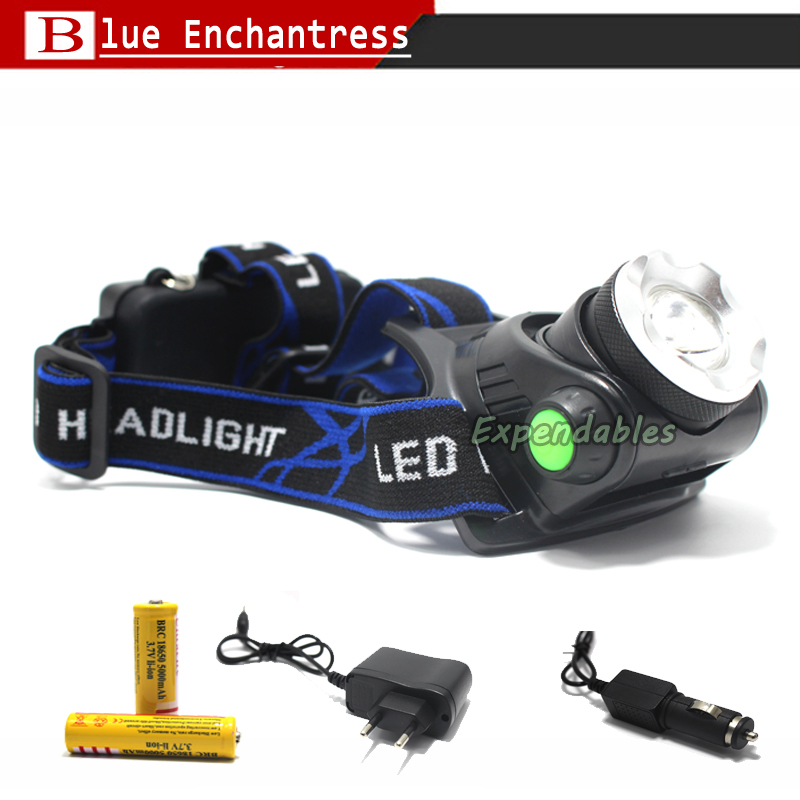Hot LED Headlight T6 Headlamp Lantern Head light LED Head Lamp Flashlight Torch+AC/Car charger+18650 Rechargeable Battery maimu 8000lm usb power led headlamp cree xml t6 3 modes rechargeable headlight head lamp torch for hunting 18650 head light d14