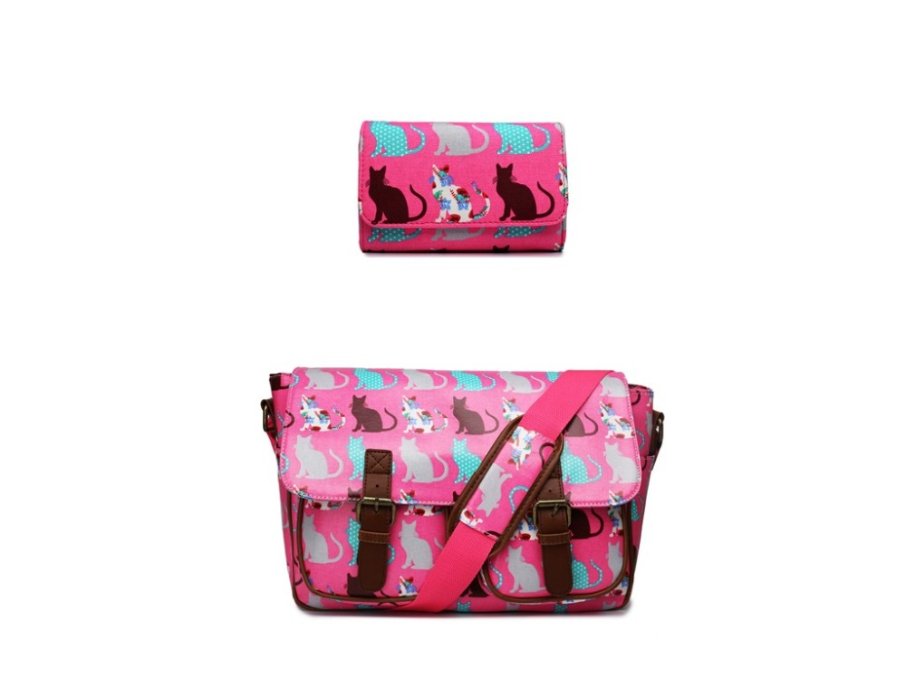 1 Set ( bag + purse ) women men Scottie Cat Oilcloth School handbags Messenger Satchel Bag and canvas Long Coin Purse Wallets