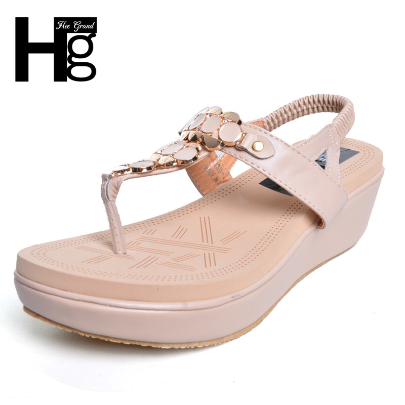HEE GRAND Cute Soft Women Platform Sandals Vintage Bohemia Beading Shoes Elastic Band Cut Out Trifle Wedge shoes Woman XWZ2862 hee grand soft transparent jelly women sandals flat with crystal colorful rhinestones butterfly knot beach shoes xwz3446