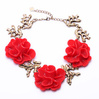 Personalised Hot New Factory Wholesale Charms Irregular Branch Chain Red & White Flower Necklace