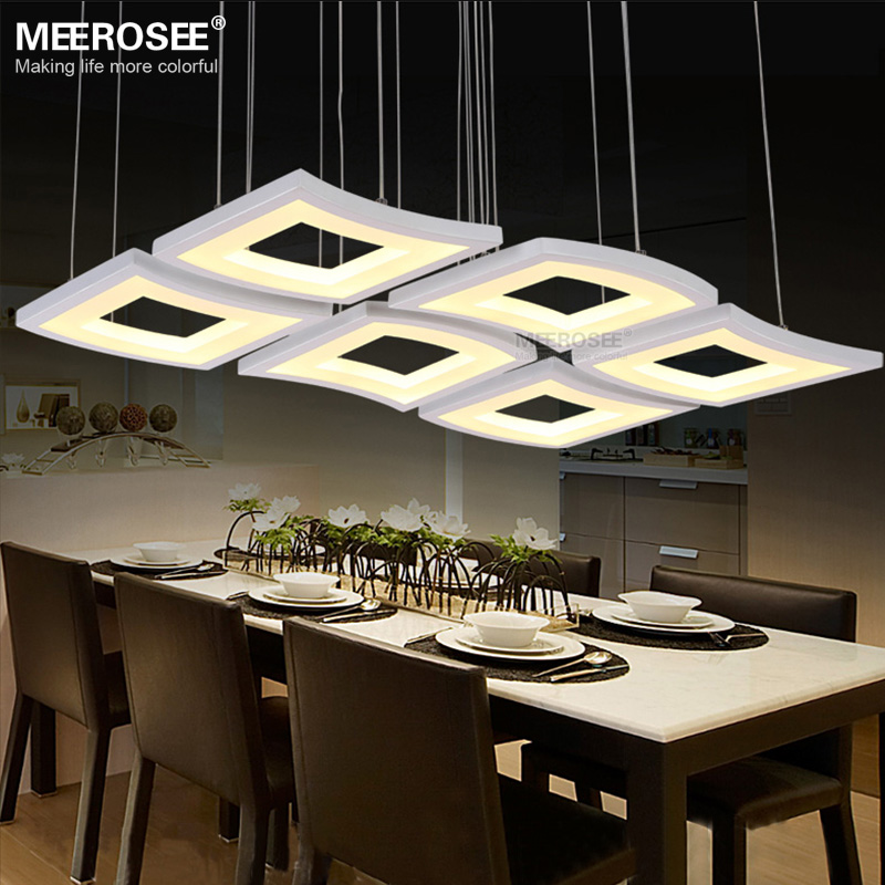 New Modern LED Pendant Lamp White Acrylic Hanging Light Square Lighting Living Room Hotel Project Lustres