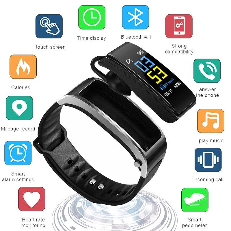JQAIQ Smart Wristbands Bracelet Bluetooth Headset Fitness Heart Rate Monitor Band Trackers
