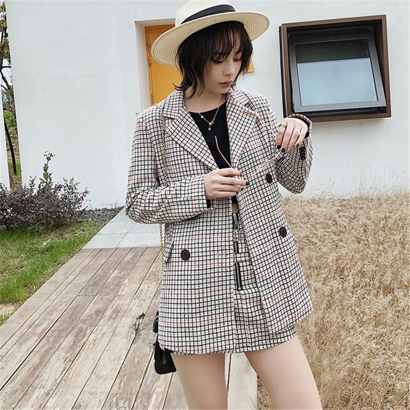 Women Plaid Blazers And Jackets Work Office Lady Suit Slim Double Breasted Business Female Blazer Coat Talever