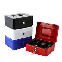 Cash box Storage money box two layers metal tray with safe key zero fire water protection metal boxes