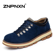 New 2016 Men Boots Genuine Leather Ankle Boots Men Brand Lace Up Rubber Suede Boots For Men