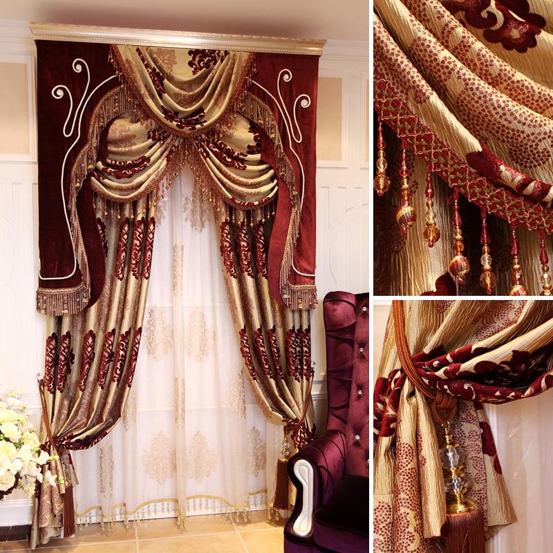 Rot Gold Vorhänge-kaufen Billigrot Gold Vorhänge Partien ... Wohnzimmer Rot Gold