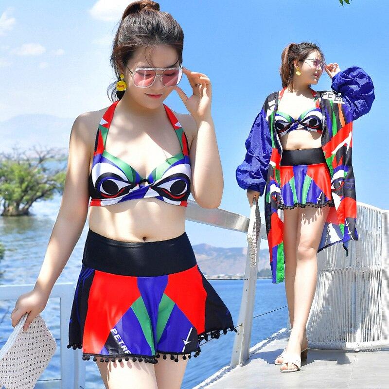 Maillot de bain 3 pièces femmes tankini 2018 rembourré push up à lacets bikini jupe à manches longues chemisier hip hop imprimer plus maillot de bain coloré