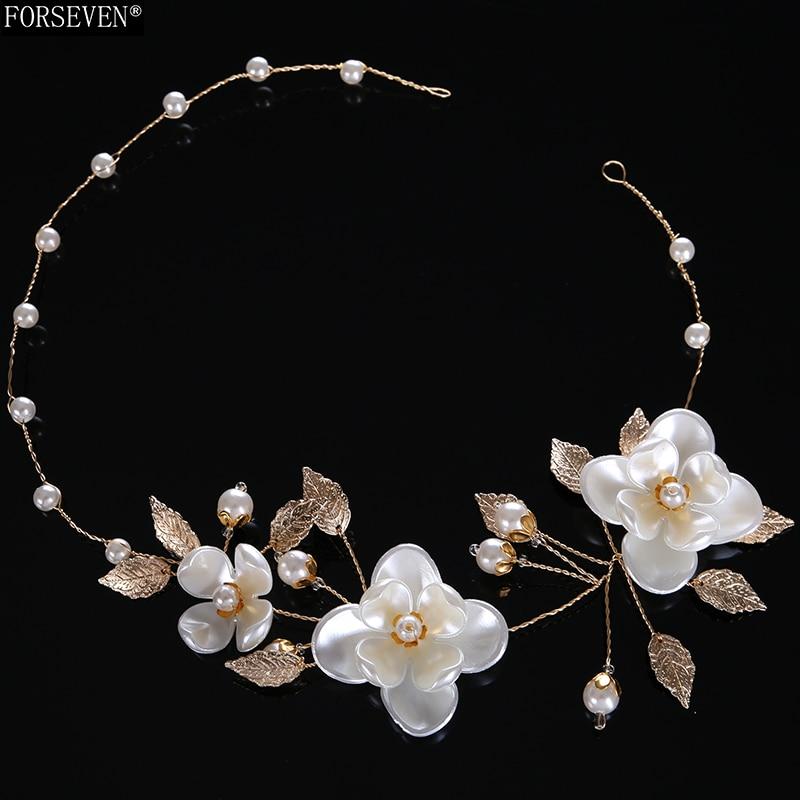 43cm White Flower Design Pearl Headbands for Women s