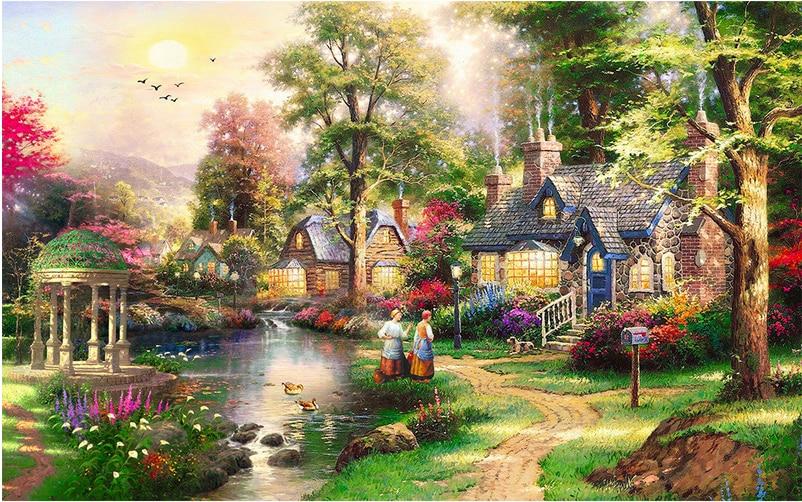 DIY 5D diamond painting mosaic landscape, farmhouse small courtyard, cross stitch suite, diamond embroidery, home decor D1097