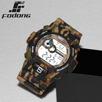 Fodong Brand Fashion Camouflage 5ATM Watch Men Silicone Luminous Back Light Relogio Digital Stainless Steel Buckle