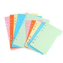 1 Набор/5 шт ЗАПРАВКИ 6 отверстий пустая красочная бумага для A6 Блокнот с отрывными листами красочный дизайн
