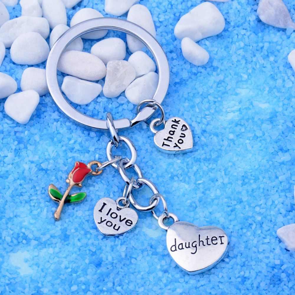 Loạt gia đình Cảm Ơn Bạn Món Quà Cho Mẹ Bà Dì Chị Em Con Gái Keyring TÔI Yêu Bạn Tim Mặt Dây Chuyền Hoa Keychain Mẹ của Ngày