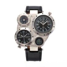 NUEVA OULM Marca de Relojes de Los Hombres Relojes Deportivos Reloj de Cuarzo Brújula Termómetro Relojes Correa de Cuero Reloj de Los Hombres