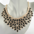 2014 Fashion Golden Chain Jewelry Black Resin Olive Leaf Bib Pendant Necklace large pendant necklace