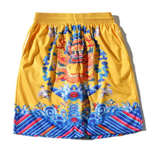 Men's Beach Shorts Summer Breathable Mesh Shorts 3D Print Chinese Style Dragon Waves Bermuda Masculina 3 Colorts Brand Clothing