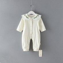Coton herbe broderie bébé barboteuses infantile barboteuse filles combinaison fille barboteuses nouveau né vêtements tenue de bébé 0 2Y
