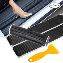 цена на 4 Pack Car Door Sill Protector Sticker Autoparts 3D Carbon Fiber Pedals Guards Anti-kick Scratch Door Kick Guard Threshold CB010