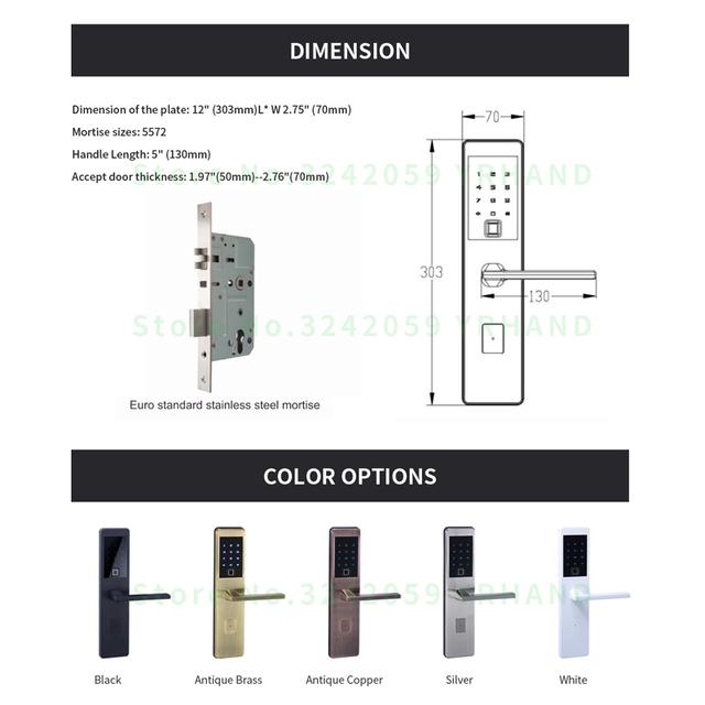 One for Five Electronic Door Lock with Wifi Bluetooth Biometric Digital Smart Fingerprint Electronic Lock For Outdoor Entry Door