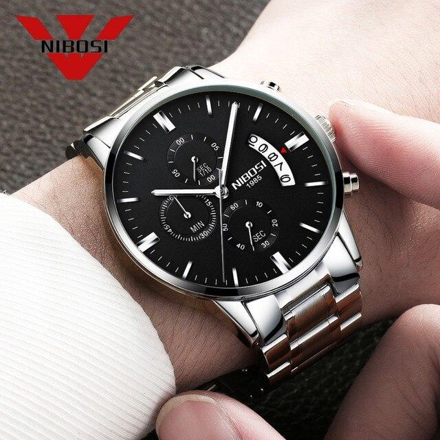 NIBISI умные часы мужские кварцевые наручные часы лучшие брендовые роскошные часы Водонепроницаемый Relogio Masculino best часы для Для мужчин модные серебряные