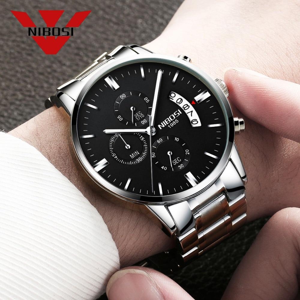 NIBOSI Stainless Steel Quartz Wristwatch Top Brand Luxury Watches Waterproof Relogio Masculino Best Watch For Men Fashion Silver