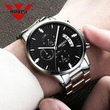 NIBOSI montre bracelet à Quartz pour hommes, en acier inoxydable, meilleure marque de luxe, étanche, mode argent
