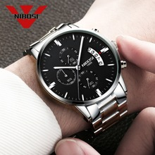 NIBOSI الفولاذ المقاوم للصدأ كوارتز ساعة اليد العلامة التجارية الفاخرة الساعات مقاوم للماء Relogio Masculino أفضل ساعة للرجال موضة الفضة