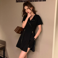 Two Pieces Set Summer 2019 Korean Fashion Zipper A Line Dress Black Shorts 2 Piece Outfits for Women Matching Sets conjunto S177