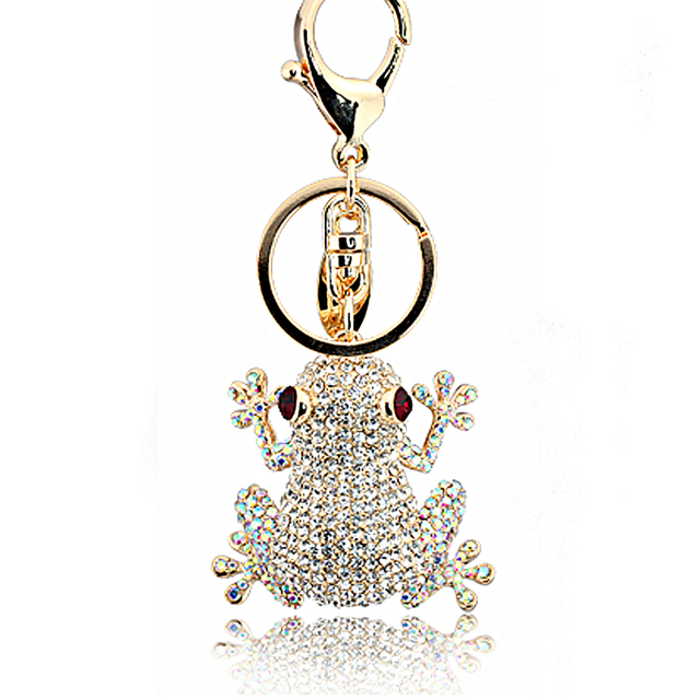 2016 New fashion design delicate bijoux frog with rhinestone key chains for men & women as valentine gift bijoux jewelry