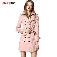 High Quality Trench Coat Women 2017 British Style Double Breasted Coat Design Trench Outerwear Winter Elegant
