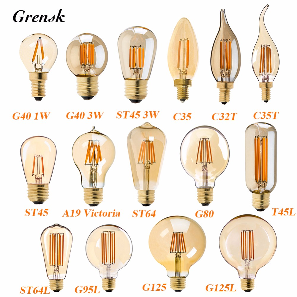 C35 C32T C35T G40 A19 ST45 ST64 G80 G95 G125,1W 3W 4W 6W 8W,Gold Tint,Edison LED Filament Bulb,Super warm 2200K,Dimmable 4pcs candle e14 edison led filament bulb c35 vintage spiral lamp warm 2200k soft flexible filament cob led bulb gold tint