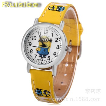 Ruislee hot sell 3d eye minion children cartoon watch women men quartz watch kids leather watches.jpg 350x350