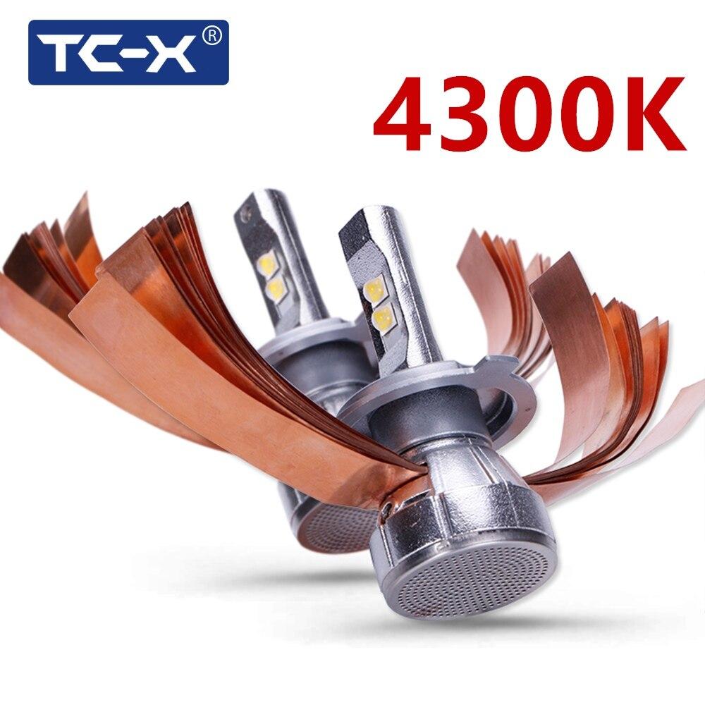 TC-X Super Lumineux 4300 k XHP50 Puces LED Phare De Voiture Kit H4 Salut/Lo H7 CANBUS H11 9005 9006 60 w 7000LM/Set Auto Projecteur Ampoules