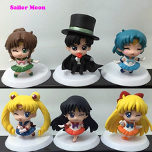 6Pcs sets Sailor Moon Eyes Closed Edition font b Action b font font b Figure b