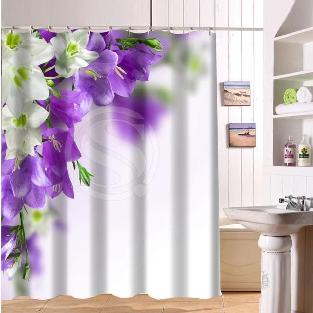 Kundenspezifische Rose Und Bunte Blumen Duschvorhang Stoff Modernes Bad  Schöne Vorhänge Für Bad