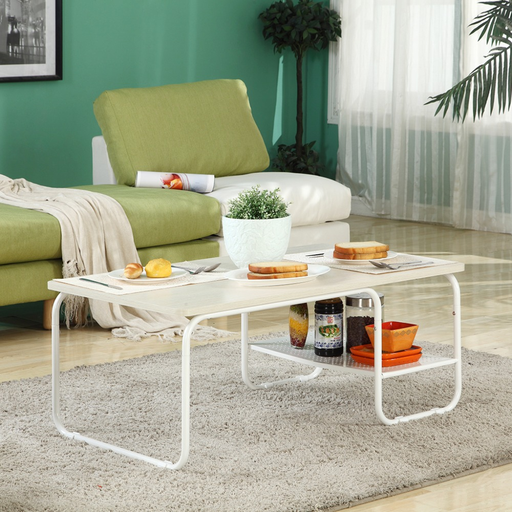 Langria stylish modern rectangular tea coffee table particle board langria stylish modern rectangular tea coffee table particle board rounded corners and edges lower shelf for additional storage in coffee tables from geotapseo Images