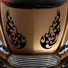 1Pair Car Racing Hot FIRE Flames Hood Decals Vinyl Bonnet stickers 20cm 450cm car vinyl decals hood stickers racing stripes