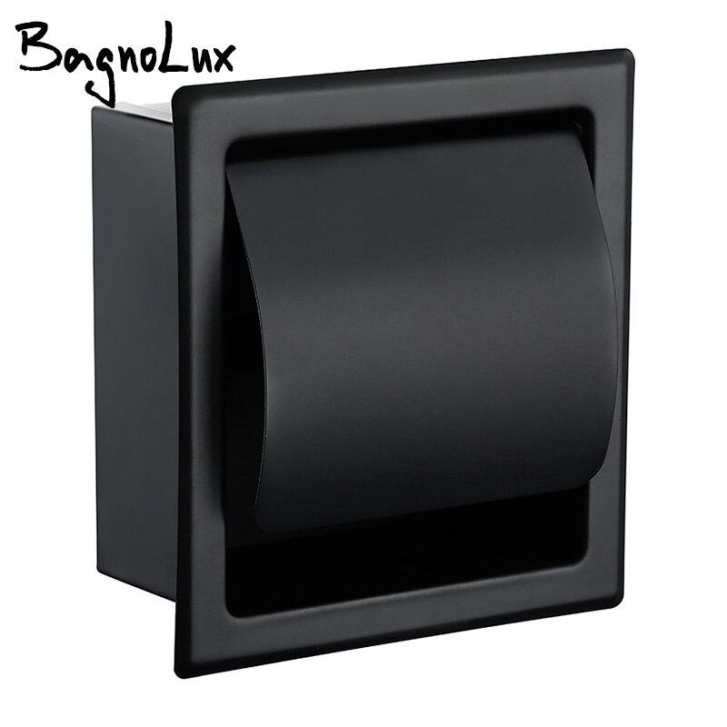 Suportes de papel Modern Wall Mount Matte Black 304 Do Banheiro Do Aço Inoxidável Suporte Do Papel Higiénico WC Rolo de Papel Caixa de Tecido 2248 MB
