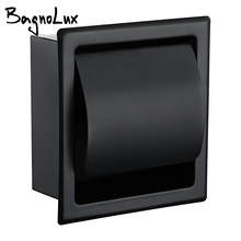купить Paper Holders Modern Wall Mount Matte Black 304 Stainless Steel Bathroom Toilet Paper Holder WC Roll Paper Tissue Box 2248MB дешево