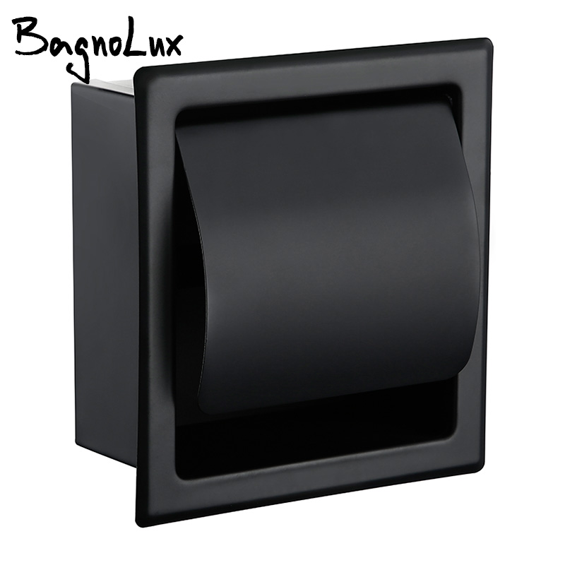 Paper Holders Modern Wall Mount Matte Black 304 Stainless Steel Bathroom Toilet Paper Holder WC Roll Paper Tissue Box 2248MB