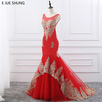 E JUE SHUNG Gold Lace Appliques Red Wedding Dresses 2018 Scoop Crystals Mermaid Wedding Gowns vestidos de novia robe de mariage