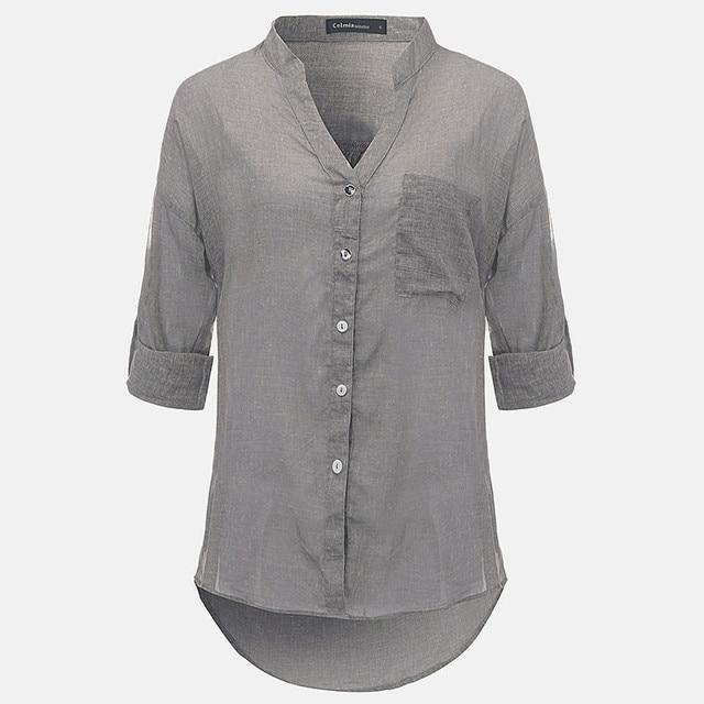 f373f26d2386 Plain Shirt Women Cotton Linen Blouse 2018 Autumn Spring Long Sleeve Shirts  Korean Style Female Casual Tops Blusas Femininas 3XL