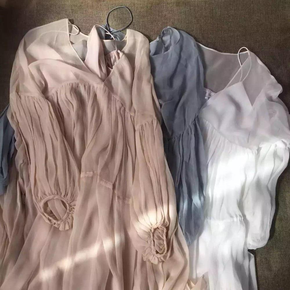 Avec Picture nude Élégant Sexy Yidora Maxi Femmes cou Long Robe Conception 2016 De 100 Soie V Manches As Marque Mode white Piste Surdimensionné Bell Plissé vBTnp