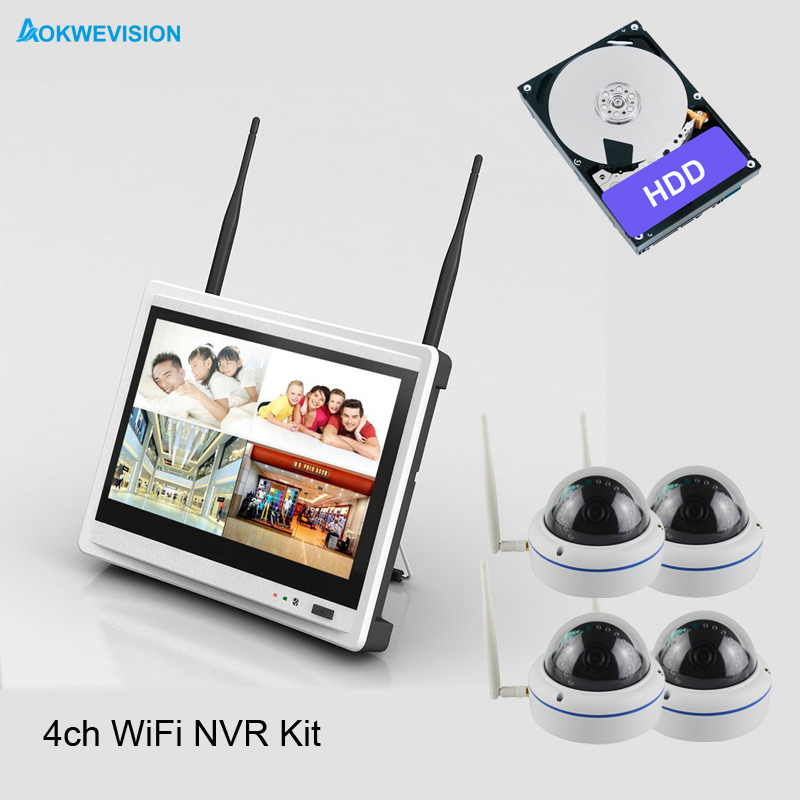 New arrival 4ch 2MP dome Day night security camera system 1080 Real wireless wifi system NVR kit with 12.5 inch LCD Screen