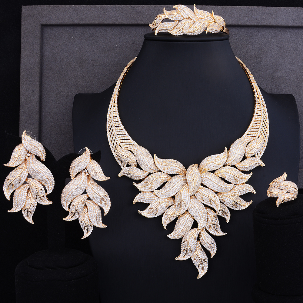 GODKI Luxury Leaf Cubic Zircon Necklace Earring Set African Nigerian Wedding jewelry Sets For Women Dubai