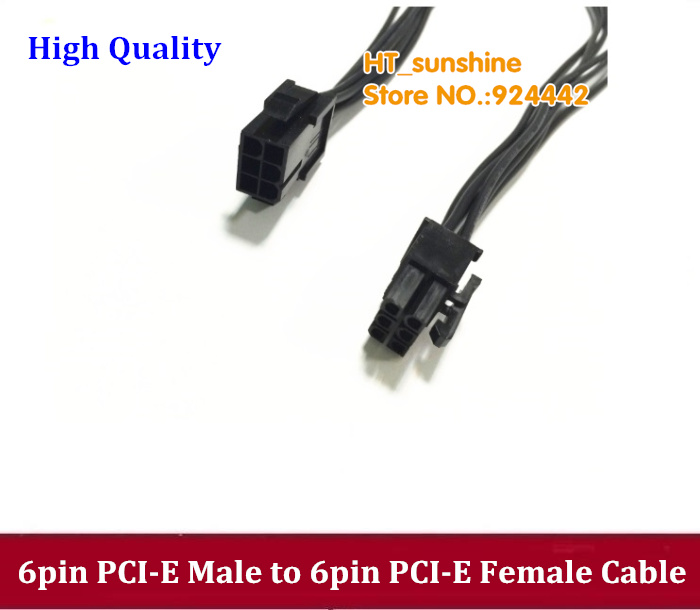 цена на Free Shipping 40cm/60cm black Video Graphics Card Power Cable 6-pin Male to 6-pin Female PCI-E New Express Cable Power Splitter